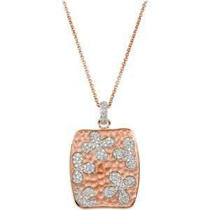14K Rose Gold Plated Cubic Zirconia Necklace With 2 Extender W/14Kr