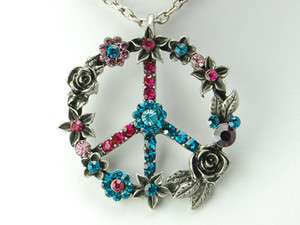 Crystal Rhinestone 70s Inspired retro Style Flower Peace Necklace
