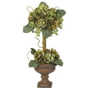 Exclusive By Nearly Natural Artichoke Topiary Silk Flower Arrangement