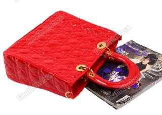 Fashion Celebrity Womens Tote Grid PU Leather Clutch Shoulder Bag