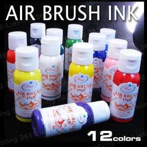 12 colors airbrush paint Nail Art Air Brush Ink Tool YY