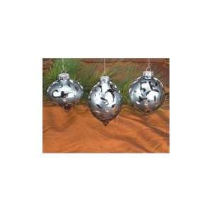 Pack of 9 Silver Onion/Teardrop/Round Glass Christmas