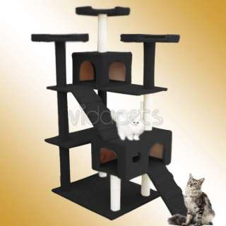 72 black Cat Tree Condo Furniture Scratch Post Pet House