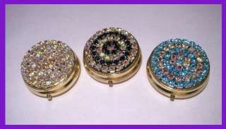Lot of 3 Pill Box with Swarovski Crystal Rhinestones