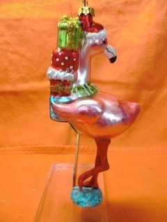 New  PINK FLAMINGO Blown Glass Christmas Ornament 6 Tall L@@K