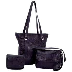 Black Solid Genuine Leather 3pc Purse Set with Crocodile Embossing
