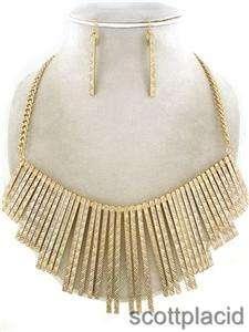 Chunky Fashion Gold Tone Statement Bib Costume Jewelry Earring