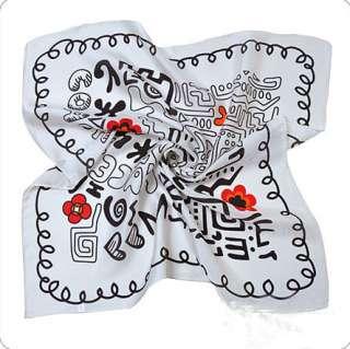 100% Silk Square Scarf Letter Print Scarves Wrap Shawl