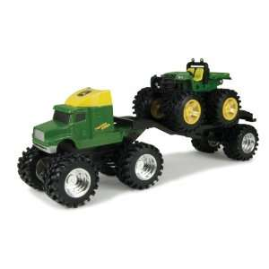 Monster Treads Green Semi Truck with 5 Inch Vehicle Set: Toys & Games