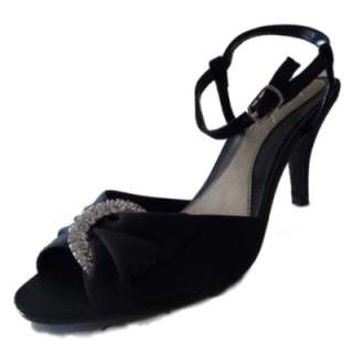 Womens Strappy Black Satin Rhinestone Pumps Heels