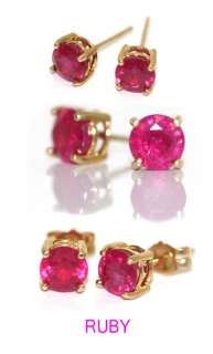 6ct (5mm each side) genuine natural rubies 14K Yellow Gold Stud