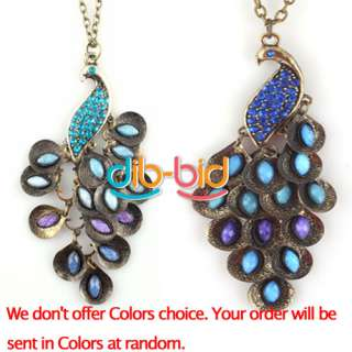 Fashion Antiqued Blue Peacock Long Chain Crystal Rhinestone Pendant