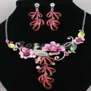 New Swarovski Crystals Red Peacock Necklace Earring Set