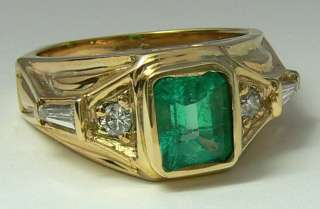 Handsome Colombian Emerald Diamond & Gold Ring 2.0cts