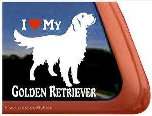 LOVE MY GOLDEN RETRIEVER ~ High Quality Vinyl Dog Window Decal