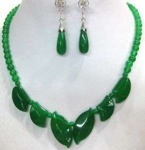 Jewelry green jade necklace earrings sets + Gift