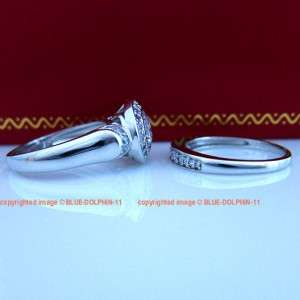 9ct White Gold Engagement Wedding Rings Set Simulated Diamond