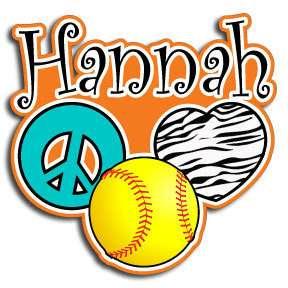 inch Peace Love Softball Zebra personalized decal