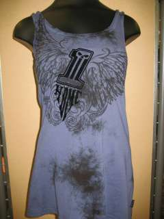 Womens Harley Davidson Black Label Long Length Blue Tank Top, 96162