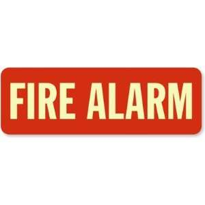 Fire Alarm (white on red) Glow Vinyl Sign, 4 x 12