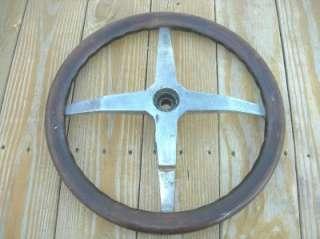 FORD MODEL T WOODEN STEERING WHEEL W/ DECKER LOCK   SOLID WHEEL
