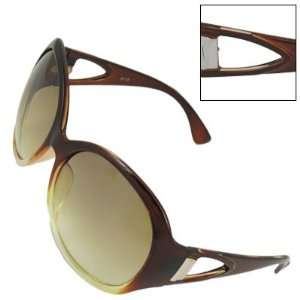 Como Lady Oversized Round Lens Brown Triangle Cut Out Plastic Arms