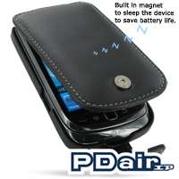 PDair Black Leather Flip Case for BlackBerry Torch 9800