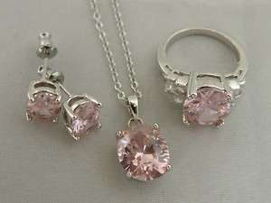 Silver Plated Pink & Clear Swarovski Crystal Ring Earring & Pendant
