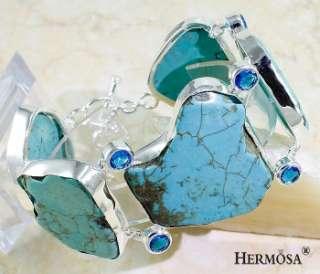 Multigem TURQUOISE, TANZANITE .925 Sterling Silver Bracelet Gemstone