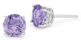 New 14K White Gold Tanzanite Stud Earring Natural Purple Gem Stone
