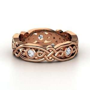 Brilliant Alhambra Band, 18K Rose Gold Ring with Diamond