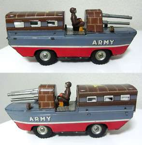 PREWAR Military Army Navy Submarine TANK Car Tin Toy ★