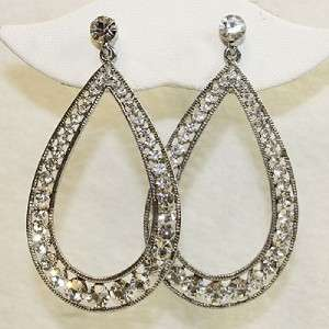 RHINESTONE TEARDROP CRYSTAL CLEAR DANGLE EARRINGS