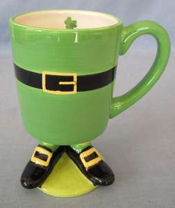 Leprechaun Body Feet Handpainted Ceramic Coffee Mug Cup