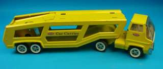 Vtg Metal Tonka Car Carrier 28 Yellow Steel Toy Truck+Trailer