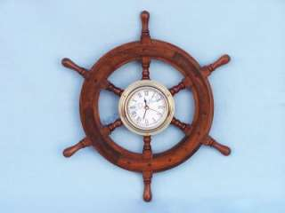 Wooden Ship Wheel Clock 12 Nautical Wall Decor