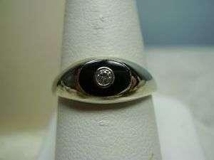Nice 14K White Gold Black Onyx and Diamond Ring