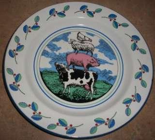 Tin Enamelware Barnyard Farm Animals Dinner Plate
