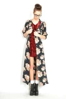 Vtg 90s Black FLORAL REVIVAL Ruffle GYPSY Grunge DRESS Kimono Boho