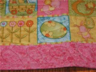 Handmade Table Runner Easter Chicks Eggs Flowers bunny