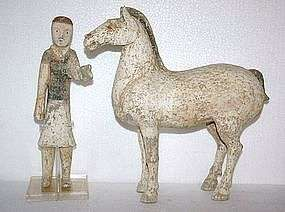 chinese Han Dynasty Tomb Painted Pottery Horse & Groom