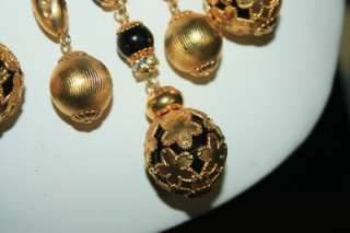 Vintage Signed Vendome HA Russian Gold Gilded Metal Dangles Bib
