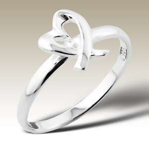 Sterling Silver Heart Ring 925 High Polished Finish