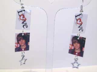 Love Justin Bieber Charm Earrings Stars JUSTIN BIEBER