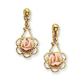 New 1928® Gold tone Porcelain Rose Drop Post Earrings