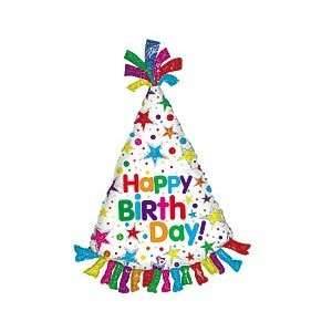 Happy Birthday Colorful Hat 34 Mylar Balloon Large