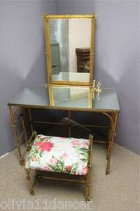 Tole Hollywood Regency gold elegant vanity bench mirror table