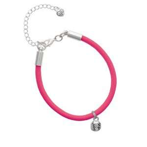 3 D Small Silver Baseball/Softball Charm on a Hot Pink