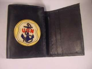 USN UNITED STATES NAVY LOGO BLACK LEATHER TRIFOLD WALLET NEW