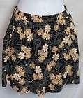Wet Seal ~ Black & Tan Floral Silky Mini Skirt   Size Medium
